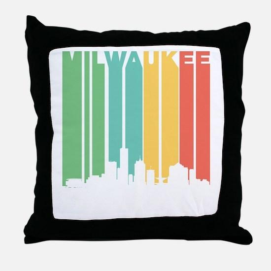 Vintage Milwaukee Cityscape Throw Pillow