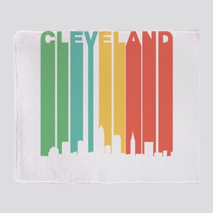 Vintage Cleveland Cityscape Throw Blanket
