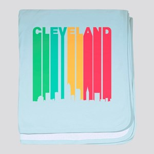 Vintage Cleveland Cityscape baby blanket