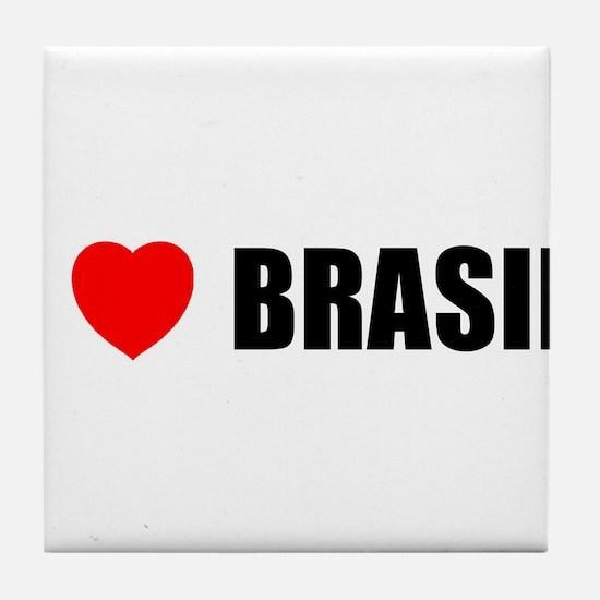 I Love Brasil Tile Coaster