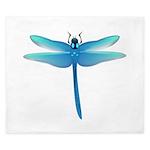 Neon blue Dragonfly King Duvet