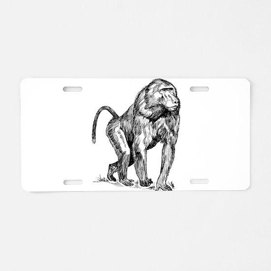 Baboon clip art Aluminum License Plate