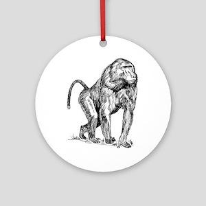 Baboon clip art Round Ornament