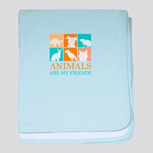 animals are my friends baby blanket
