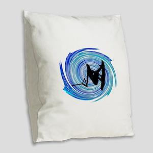 WAKEBOARD Burlap Throw Pillow