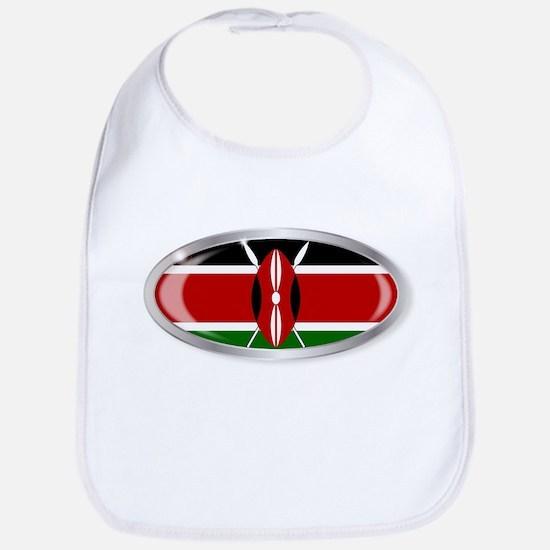 Kenya Flag Oval Button Bib