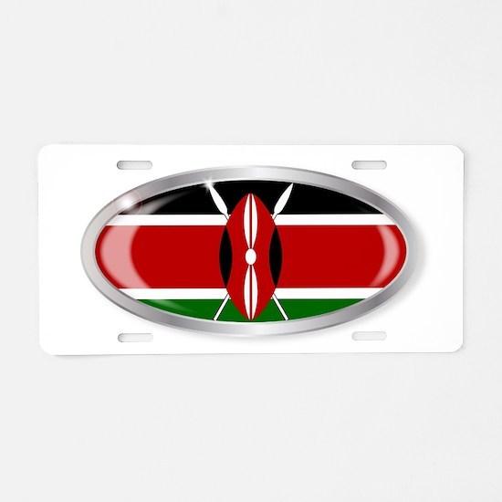 Kenya Flag Oval Button Aluminum License Plate