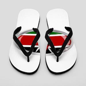 Kenya Flag Oval Button Flip Flops