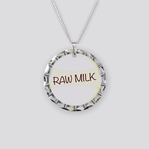 Raw Milk Glass Bottle Cap Necklace Circle Charm