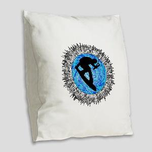 WAKEBOARDER Burlap Throw Pillow