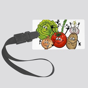 Funny cartoon vegetables Large Luggage Tag