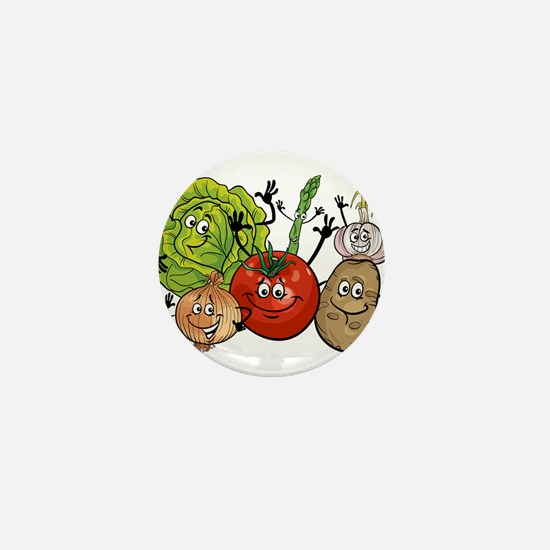 Funny cartoon vegetables Mini Button