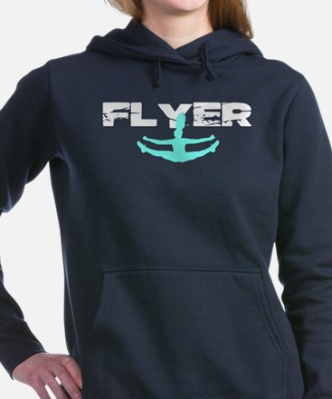Blue Cheerleader Flyer Women's Hooded Sweatshirt