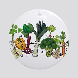 Funny cartoon vegetables Round Ornament