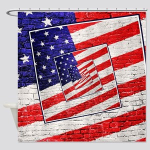 Patriotic American Flag Abstract Shower Curtain