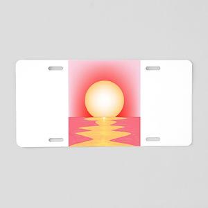 Pink SUnset Aluminum License Plate