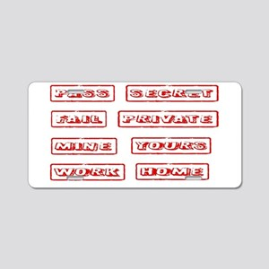 Rubber Stamps Aluminum License Plate