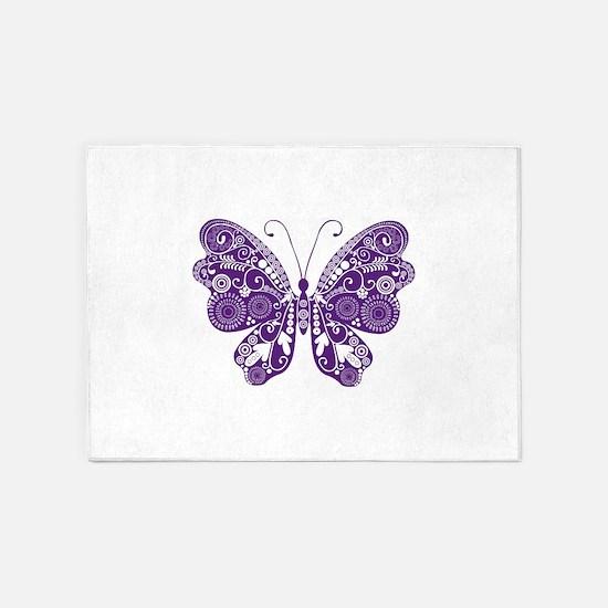 Purple Erfly Rugs Area Indoor Outdoor