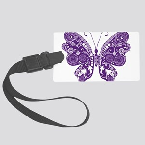 Beautiful purple butterfly desig Large Luggage Tag