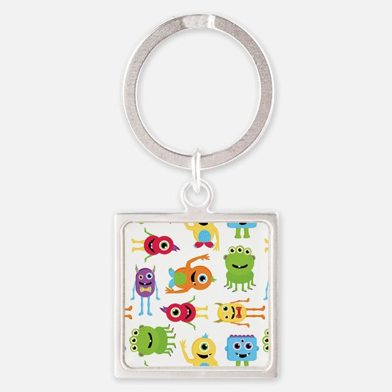 Little Monster Pattern Square Keychain