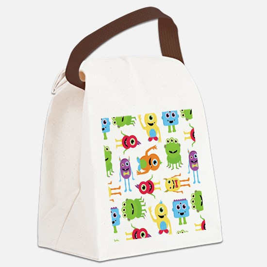 Little Monster Pattern Canvas Lunch Bag