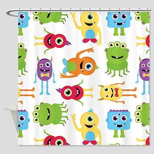 Little Monster Pattern Shower Curtain