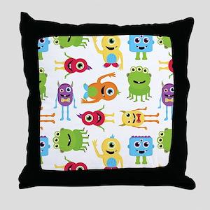 Little Monster Pattern Throw Pillow
