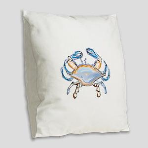 Colorful crab art Burlap Throw Pillow