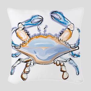 Colorful crab art Woven Throw Pillow