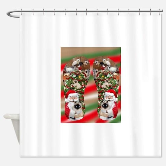 Ragdoll Cats Enjoying Christmas Shower Curtain