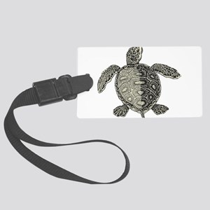 Retro pirates turtle design Large Luggage Tag