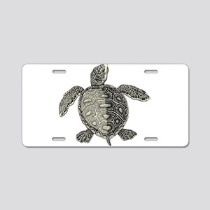 Retro pirates turtle design Aluminum License Plate