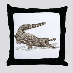 Hand painted animal crocodile Throw Pillow