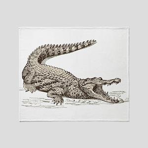 Hand painted animal crocodile Throw Blanket