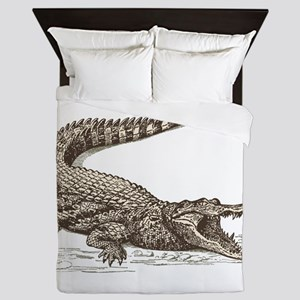 Hand painted animal crocodile Queen Duvet