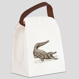 Hand painted animal crocodile Canvas Lunch Bag