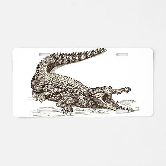 Hand painted animal crocodi Aluminum License Plate