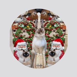 Ragdoll Cats for Christmas Round Ornament