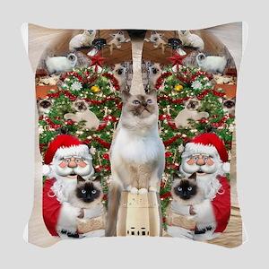 Ragdoll Cats for Christmas Woven Throw Pillow