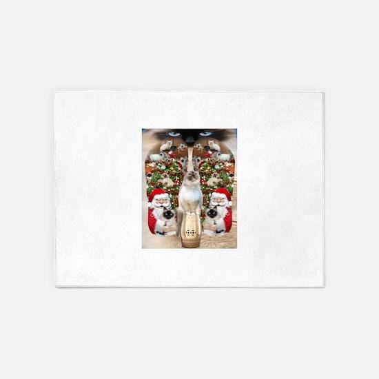 Ragdoll Cats for Christmas 5'x7'Area Rug
