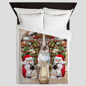 Ragdoll Cats for Christmas Queen Duvet