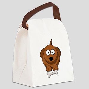 Cartoon dog with bone Canvas Lunch Bag