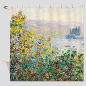 Claude_Monet_-_Flower_Beds_at_Véthe Shower Curtain