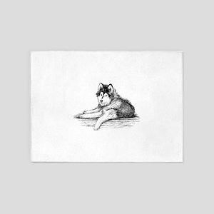 Hand drawn huskies dog 5'x7'Area Rug