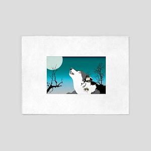 Dog barking in moon light 5'x7'Area Rug