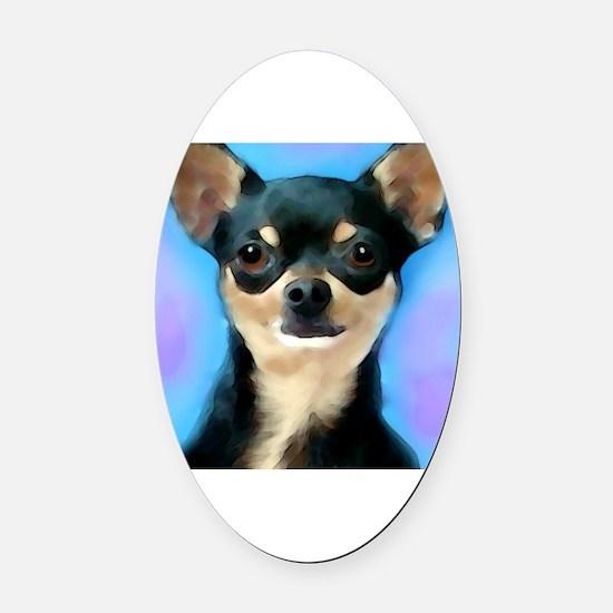 Unique Chihuahua art Oval Car Magnet