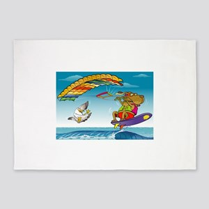 Dog and duck ridding on sea 5'x7'Area Rug