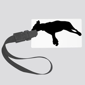 Jumping dog silhouette Large Luggage Tag