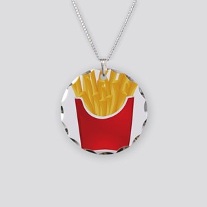 French fries art Necklace Circle Charm