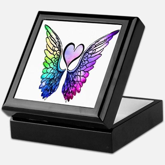 Cute Heart angel wings Keepsake Box